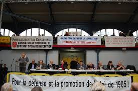 Meeting laïque à l'appel de la Fédération nationale de la Libre Pensée. 5 décembre 2015, Salle Japy à Paris.